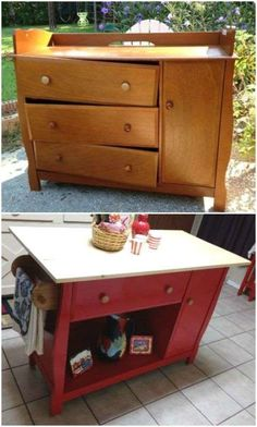 Just because the kids have outgrown the changing table doesn't mean you have to. Upcycle it into a bright, fun kitchen island and nobody will know you pulled double duty on your baby gear. Get the full tutorial here. Refurbished Furniture, Plywood Furniture, Repurposed Furniture, Furniture Projects, Kitchen Furniture, Kids Furniture, Furniture Makeover, Home Projects, Painted Furniture
