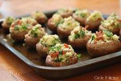 Gouda-stuffed Mushrooms - made them without the bacon and they were still delicious!