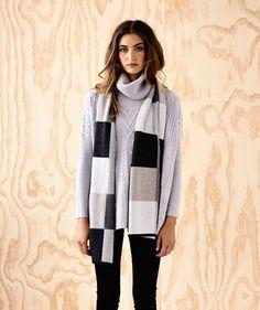 Quilt Weave Scarf Charcoal - Ella Sanders - Ella Sanders - Brands