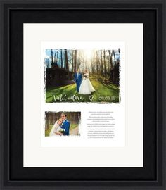 Custom wedding vow art - personalized for in a beautiful wooden frame.