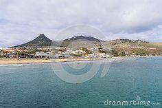 View on the city and beach at the Atlantic Ocean on Porto Santo Island near Madeira Island, Portugal.