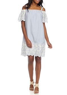 Luxology™ Striped Embroidered Off The Shoulder Dress