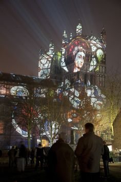 Shown at the Durham Lumiere Festival 2009 & 2011.     The piece was created to celebrate the connection between Durham and the Lindisfarne Gospels.    Over 1000 years of history was represented within the images.  The Lindisfarne Gospels were broken down and reformed to decorate the outside of the Cathedral as well as architectural images made from photographs of elements of the cathedrals structure.