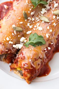 Smoky Flank Steak & Three Cheese Enchiladas ~ topped with Homemade Smoky Chipotle Enchilada Sauce