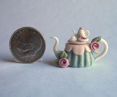 Handmade Miniature PINK ROSE TEA TABLE TEAPOT -  OOAK C. Rohal #CRohal