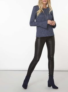 Womens Navy Fluted Sleeve Jersey Knitted Top- Unspecified