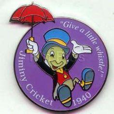 Disney's Jiminy Cricket With Umbrella Dated 1940 Pin