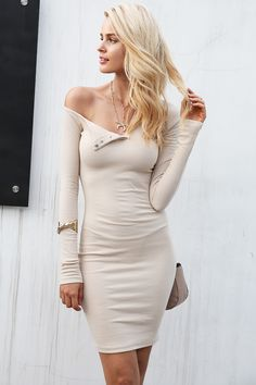 Simplee Autumn one shoulder sexy bodycon dress