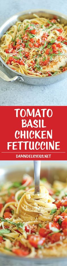 Tomato Basil Chicken Fettuccine - A quick weeknight Italian pasta dish using fresh, simple ingredients that you already have on hand! So easy and simple!