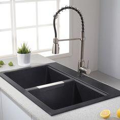 Kraus 33-inch Dual Mount 50/50 Double Bowl Granite Kitchen Sink w/ Topmount and Undermount Installation (Onyx Black), Size Over 22
