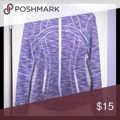 Lululemon jacket Super cute Lululemon jacket -- perfect for to and from the gym. Pattern is lilac, gray, and white heather. In very gently used condition. lululemon athletica Jackets & Coats