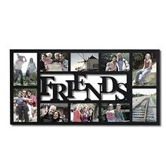 Adeco PF0396 10Opening Decorative Wood Friends Collage Wall Hanging Picture Photo Frame 4x6 Inches and 5x7 Inches Black -- Want to know more, click on the image.