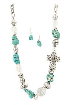 Cattilac Style Turquoise Stones w/ Beads and Cross Necklace and Earrings Jewelry Set