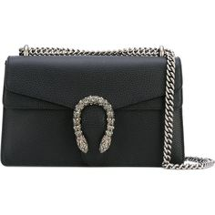 Gucci Dionysus Leather Shoulder Bag (3 636 525 LBP) ❤ liked on Polyvore featuring bags, handbags, shoulder bags, black, leather handbags, long shoulder bags, gucci handbags, leather purses and handbags shoulder bags