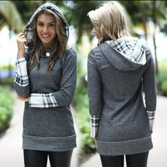 ❤Cozy Chic Grey Plaid Hooded Tunic❤️ ❤Cozy Chic Grey Plaid Hooded Tunic❤️ Sweaters