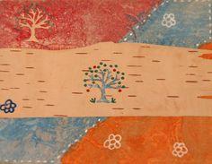 DIY Birch Bark Postcard made by @nepermhome for the iHanna DIY Postcard Swap spring 2015 #mailart #diypostcardswap #postcard