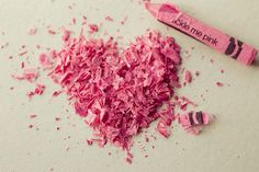 Heart Shaped Tickle Me Pink Crayon Shavings