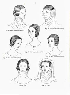 Plantagenet (14th century): Horizontal Braiding, Gorget.     Gorget - When a wimple is worn without a veil, pinned over hair coils on the side of the head (Fig. 19). Sometimes the coils were braided horizontally (Fig.18). Horizontal Braiding- popular in the mid 14th century, the head would go uncovered, but sometimes a fillet would support the plaits ( Fig. 22).
