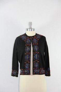 1950s Vintage Cardigan Beaded Sweater  by VintageFrocksOfFancy, $120.00