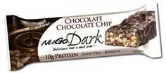 NuGo Dark Chocolate Chocolate Chip Protein Bar - This Chocolate Chip bar covered in REAL Dark Chocolate will curb all of those chocolate cravings and leave you wanting more.  $19 for 1 box of 12 bars #Vegan #Dairyfree #Kosher Parve