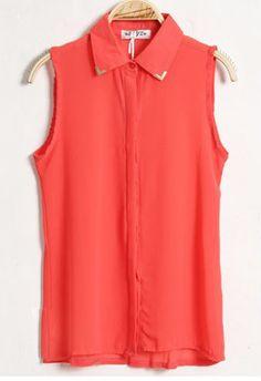 Solid Lapel Sleeveless Chiffon Shirt Red