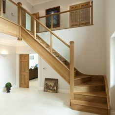 Double Stairs Entrance Banisters Ideas For 2019 House Staircase, Staircase Railings, Modern Staircase, Staircase Ideas, Bannister, Loft Railing, Small Staircase, Oak Stairs, Glass Stairs