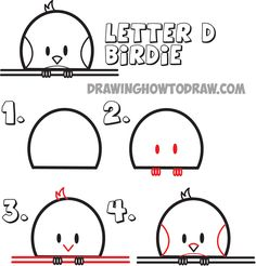 learn how to draw cartoon birds from the letter d
