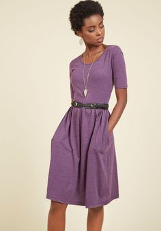 Pack a Brunch Jersey Dress - Purple, Solid, Casual, A-line, Short Sleeves, Winter, Knit, Good, Long