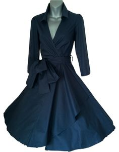 My perfect wedding dress - Midnight Blue 50's style Rockabilly / Swing / Pin up cotton wrap evening party dress <3