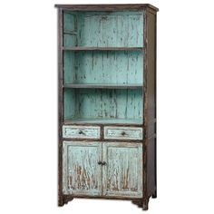 This hand distressed bookcase is a wave of tranquility with its light aqua finish and reclaimed fir wood grain.
