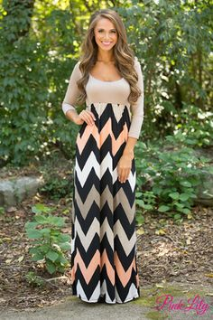 d6fa5e8a13e This floor length maxi features a solid colored neutral top with fun multi  colored chevron stripes on the bottom.