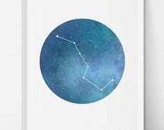 Big Dipper Ursa Major, Constellation Art, Navy blue print, Constellation print, Stars decor, galaxy art, astronomy print, printable artwork