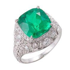 Spectacular Edwardian Emerald Diamond Platinum Ring, ca. 1915