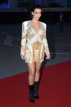 Kimmy in BALMAIN, what a shame she wore black boots or would you have done the same?