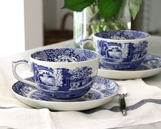 We are thrilled to introduce this Blue Italian Jumbo Cup & Saucer from Spode to our collection of tableware. Blue Italian is one of the most iconic designs