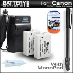 Introducing 2 Pack Battery And Charger Kit For The Canon EOS Rebel T5i T4i T3i T2i Digital SLR Camera Includes 2 Extended 1500Mah Replacement LPE8 Batteries  ACDC Charger  67 Monopod  LCD Screen Protectors  MicroFiber Cleaning Cloth. Great Product and follow us to get more updates!