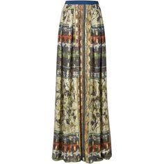 Alberta Ferretti maxi print peasant skirt ($1,230) ❤ liked on Polyvore featuring skirts, multicolour, long brown maxi skirt, patterned maxi skirt, brown skirt, long colorful skirts and patterned skirt