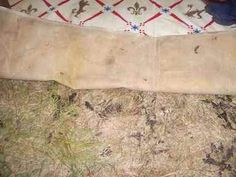 Painted Groundcloth: These are made with canvas, treated with gesso (as with an artist's canvas) and then polyurethaned for sealing. I scaled down two 9'x12' untreated painter's dropcloths, gessoed and polyurethaned them. I will make a couple of smaller floor cloths to fill in the main gaps where we need them. Note: make sure your roll up painted cloths versus folding as they will crack.