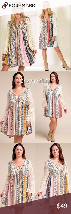 "Plus size lace sleeves boho printed dress flowy price is firm‼️only mustard pink combo is available.. ‼️2Xl can fit a 3xl    ⭐️NWT retail. -plus size dress- -sheer Lace long bell flare sleeves dress. -beautiful patch work floral print. -boho chic mini hi lo low dress....sexy, flowy  ,comfy  summer sun dress.  Measurements : (Armpit to armpit 1Xl is 26"" /2Xl is 27"");  (Total Length 1Xl-2Xl is 36"" at front and  backside length is 38"");  sleeves length is 24.5-25.5""  ⭐Material  is 100%Rayon…"
