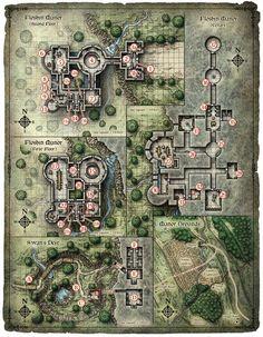 Vintage Canvas Dungeons and Dragons Table Map Fantasy City, Fantasy Map, Dark Fantasy, Rpg 2d, Pathfinder Maps, Bg Design, Game Design, Building Map, Map Layout