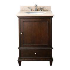 Avanity Windsor (single) 24-Inch Walnut Transitional Bathroom Vanity with Top Option