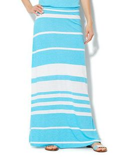 NY&C Collection - Stripe Maxi Skirt. I love this skirt but need one short enough for me.