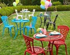 Our colorful Neely Bistro Sets look like traditional cast iron, but they're actually cast in rust-resistant aluminum.
