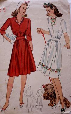 1940s One Piece Dress WWI Era Vintage by BluetreeSewingStudio, $16.00