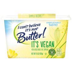 I Can't Believe It's Not Butter Vegan Buttery Spread, 15 oz Spread Vegan Butter Brands, Vegan Bread Brands, Vegan Frozen Food, Frozen Food Brands, Accidentally Vegan Foods, Vegan Coffee Creamer, How To Become Vegan, Vegan Protein Powder, Walmart