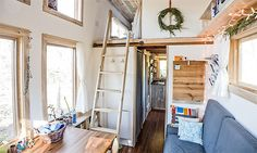 How to build a tiny house for $30,000  The home is uncluttered, with plenty of innovative storage spaces. There are shelves, fold-away cupbo...