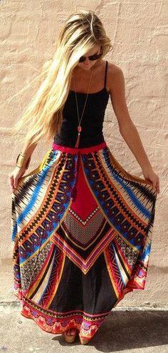 Summer Beach Wear Kaftan Dress Tunic Thailand Printing Large Swing Skirt