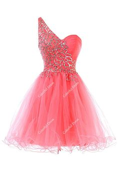 One Shoulder Beading Tulle Cocktail Dress/Homecoming Dress/Short Cocktail Dress/Prom Dress Graduation/Cheap from ColorDress on Etsy. Cute Prom Dresses, Grad Dresses, Dance Dresses, Homecoming Dresses, Cheap Dresses, Pretty Dresses, Beautiful Dresses, Evening Dresses, Prom Gowns