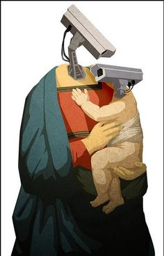 Madonna and Child of Surveillance  [follow this link to find a short video and analysis of drones and the future of surveillance: http://www.thesociologicalcinema.com/1/post/2013/12/drones-and-the-future-of-surveillance.html]  Artist: Jared Rodriguez