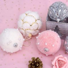 Buy the elegant and purely pretty Christmas ball to decorate your space. Find more unique Christmas ornaments at Apollo Box! Pink Christmas Tree Decorations, Unique Christmas Ornaments, Ball Decorations, Ball Ornaments, Hanging Ornaments, Christmas Crafts, Christmas Room, Christmas Wreaths, Break Free